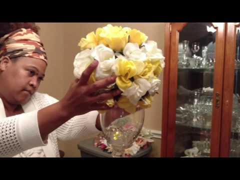 DIY Wedding Centerpiece/ Dollar Tree Golden Wedding Anniversary Project