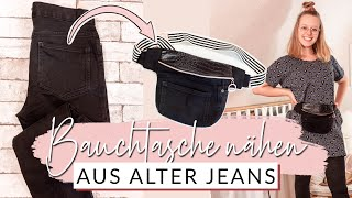 Bauchtasche nähen aus alter Jeans   Upcycling Tasche selber machen