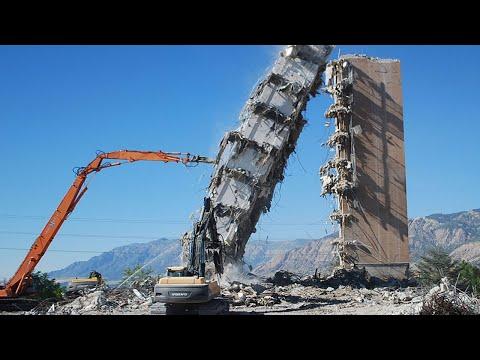 Amazing Dangerous Fastest Building Demolition Excavator Skill, Heavy Equipment Machines Working ▶2