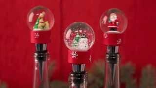 80185-20 Winter Wonderland Snow Globe Bottle Stopper Thumbnail