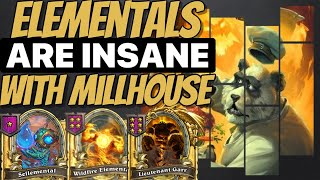 MILLHOUSE + ELEMENTALS = INSANE - Hearthstone Battlegrounds