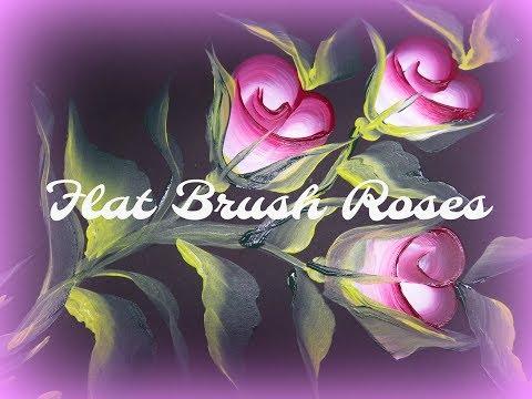 Flat Brush Roses #5   Flat Brush Painting   Easy Painting Tutorial   Aressa   2019