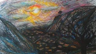실루엣 그림을 그렸습니다  노을 지는 풍경 처음으로 도…