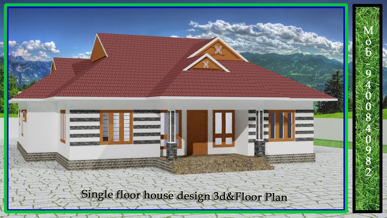 Front Design Of Small House Single Floor Tiled Roof Youtube