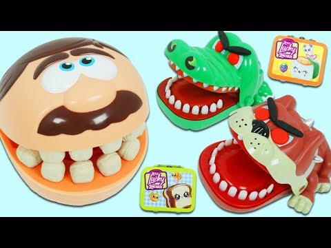 Mr. Play Doh Head Finds Food for Toy Bulldog & Croc at AWESMR kids Head Quarters!