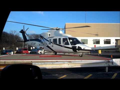 Sikorsky S 76C helicopter start up and take off.