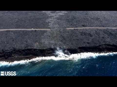 Lava going into the ocean on Tuesday, July 26