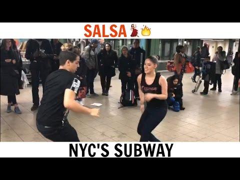 New York Salsa Style (Dancing At New York City's Subway)