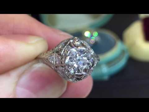 1920'S Antique Platinum Old European Cut Diamond Engagement Ring