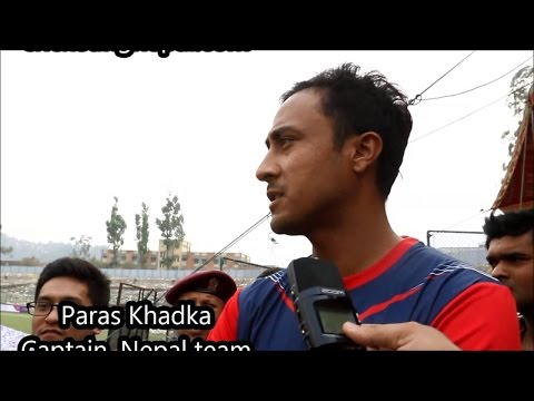 Paras Khadka speaks during launching of bat and bowl foundation