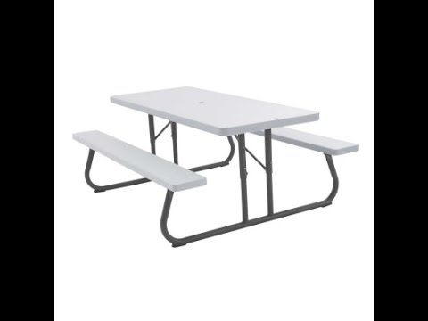 Lifetime 80215 6-Foot White Granite Picnic Table With Umbrella Hole