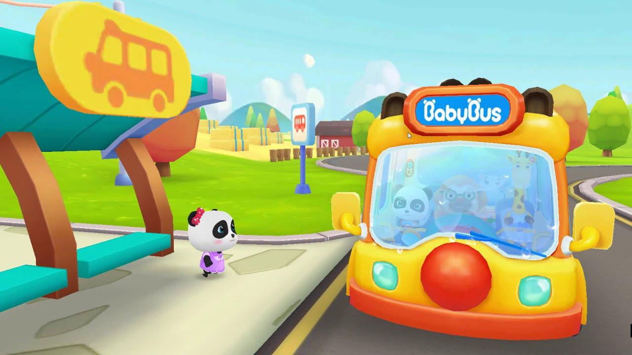 เกมเบบี้บัสไปโรงเรียน  Little Panda School Bus   Go Shopping