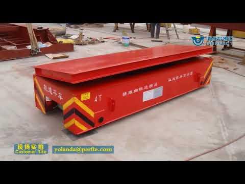 Steel pipe transfer system on rail carrier for unloading