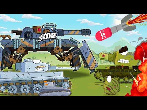 Robot is fighting against Monster tank. Cartoon tanks. World of tanks animation. Tank for children.