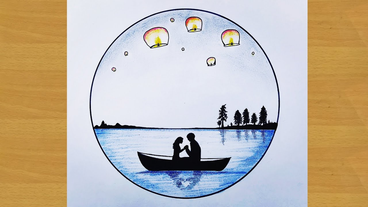 How to draw couple on boat with sky lertern balloons - scenery drawing - Gali Gali Art