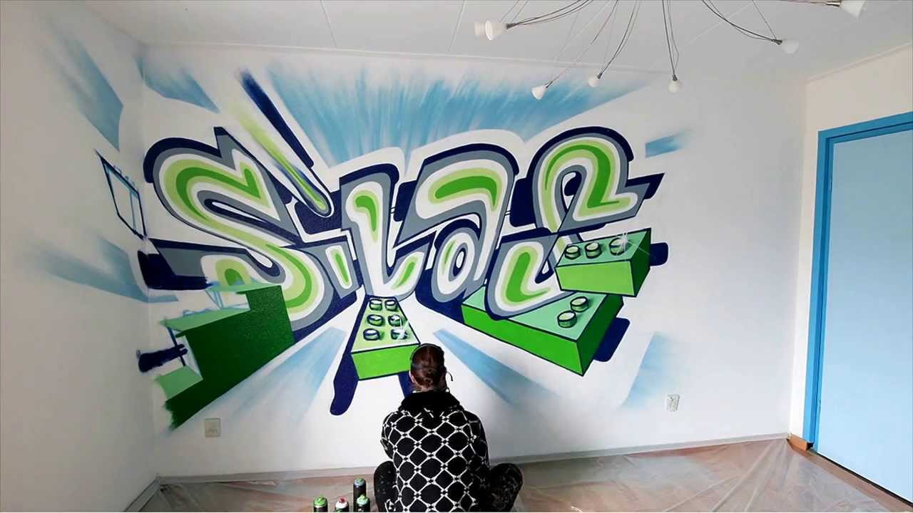 James Jetlag Graffiti Painting bedroom walls. - YouTube