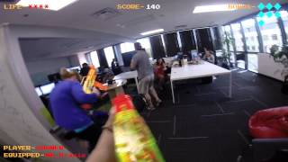 Epic Office Nerf War- MUST SEE! FPS Go Pro- Can this guy be beaten?