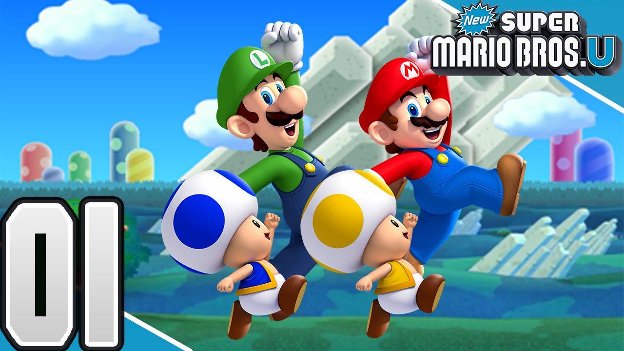 New Super Mario Bros U Part 1 Acorn Plains 4 Player Youtube
