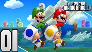 New Super Mario Bros. U -  Part 1- Acorn Plains (4 Player)