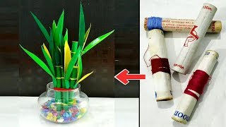 Best Out Of Waste Thread Spool Craft Idea/Lucky Bamboo Showpiece