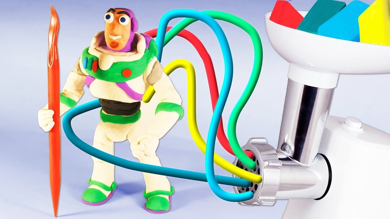 Quickly make Buzz lightyear باز لايتير إيقاف الحركةout of plasticine modelling from toy story 4