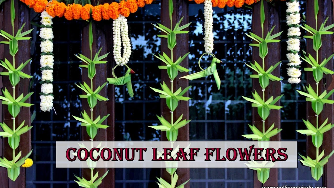 How To Make Coconut Leaf Toran Flower Type Youtube