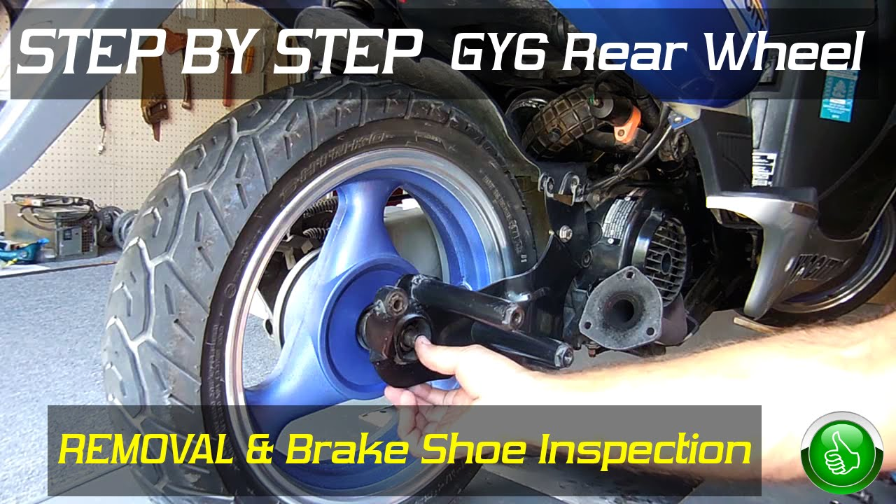 Step By Gy6 Rear Wheel Removal Brake Inspection Youtube 150 Cf Moto 150cc Scooter Wiring Diagram