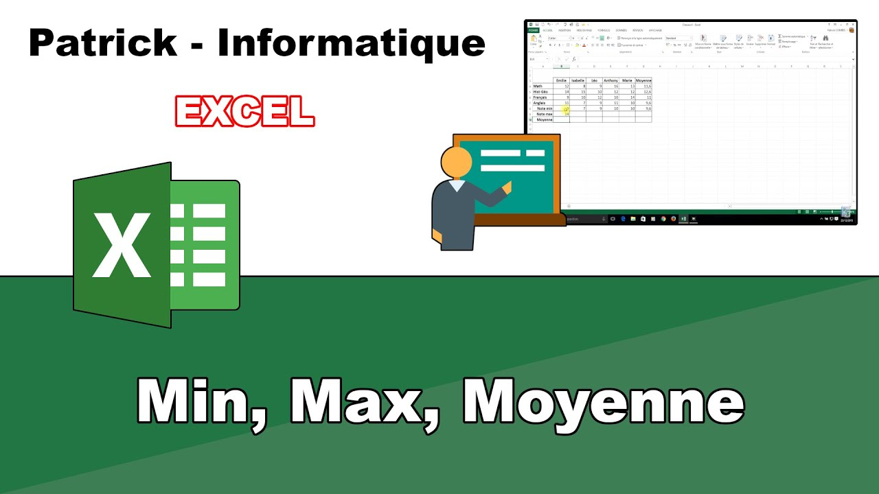 Tuto Excel 2013 Min Max Moyenne Youtube