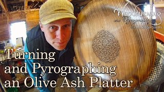 Turning An Olive Ash Platter With Celtic Pyrography Design