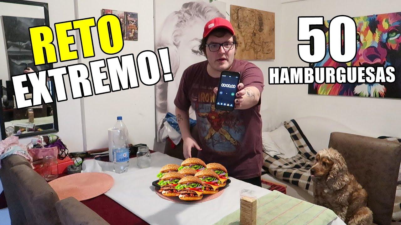 50 HAMBURGUESAS EN 5 MINUTOS CHALLENGE!! (RETO EXTREMO)