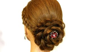 Prom hairstyle for long hair. Updo. Hair made rose.