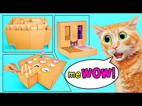 cool-crafts-for-your-cat-||-how-to-build-a-cat-maze,-a-cat-game-and-a-cat-feeder-from-cardboard