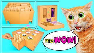 Cool Crafts For Your Cat || How to Build a Cat Maze, a Cat Game and a Cat Feeder from Cardboard