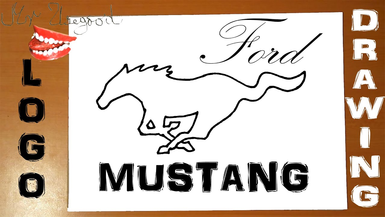 How To Draw A Horse Step By Step For Beginners Easy  Ford Mustang Car Logo   Wild Horse, Tutorial