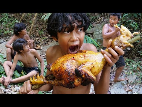 Primitive Technology - Wow! Smart Boy Cooking Chiken Recipe