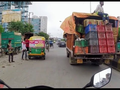 Crazy traffic in India | motorcycle ride in New Delhi