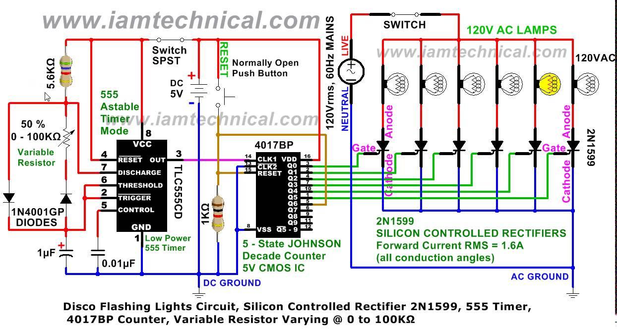 Disco Flashing Lights Circuit Thyrister 2n1599 555 Timer Variable Internal Diagram While Reset Resistor 0 100k