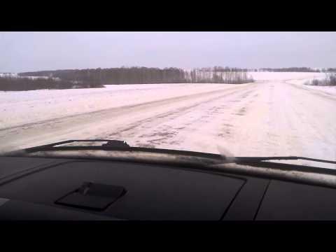 Заснеженная дорога на Шарыпово и Абакан