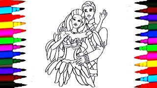 How to Draw BARBIE Princess and Prince KEN Coloring Pages for Kids l Drawing Art l Colored PENS