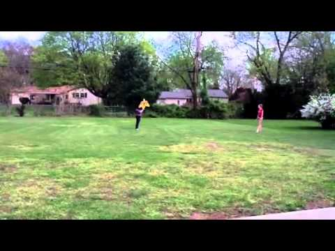 Paige and Becky fly a kite