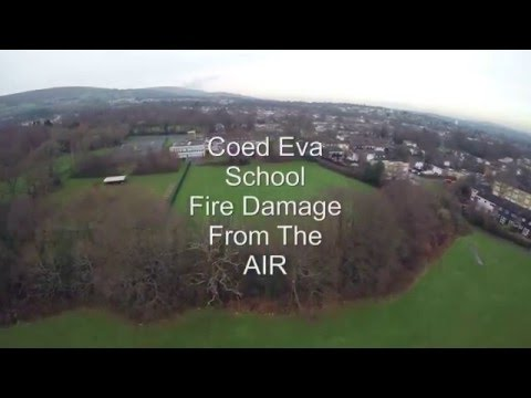Coed Eva School Fire from the air 2016 01 06