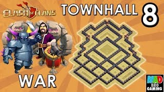 TH8 WAR Base (Anti GoWiPe) with AIR SWEEPER - Clash of Clans 2015