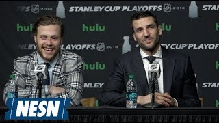David Pastrnak, Patrice Bergeron Full Press Conference After Game 2 Vs. Maple Leafs