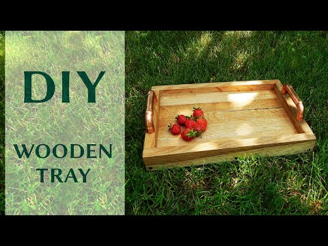How to make a super simple wooden tray | DIY oak tray with copper handles
