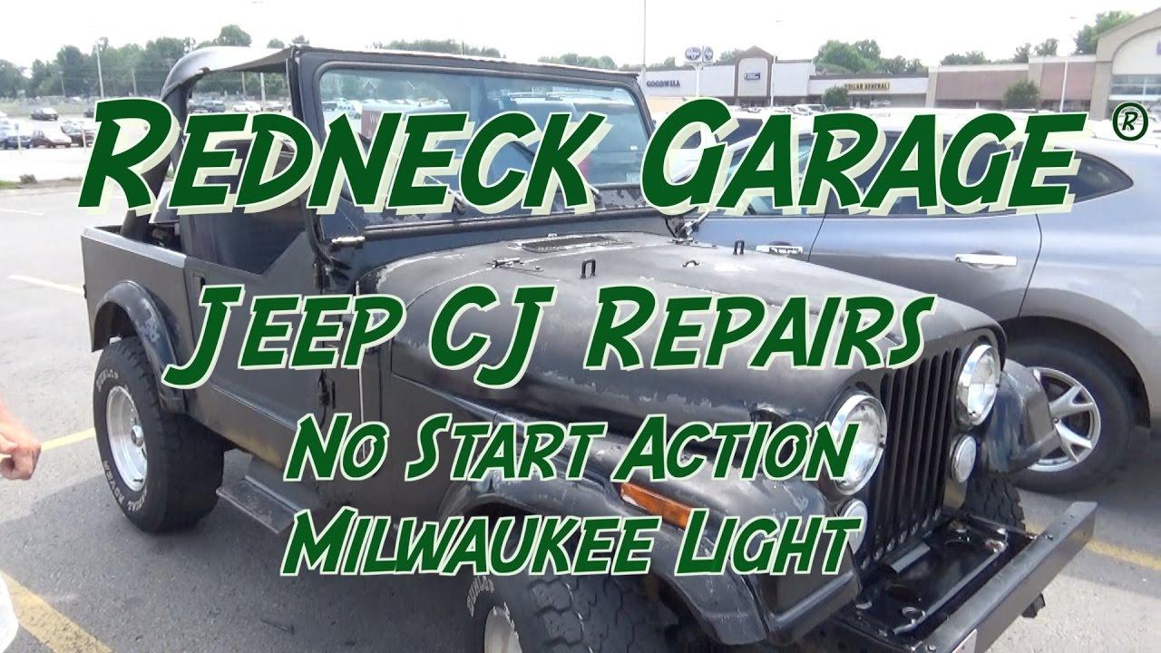Jeep CJ-7 - No Start Condition - Milwaukee LED M18 Stand Light