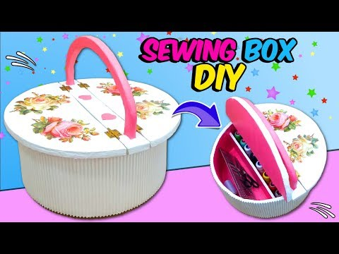 Best Out Of Waste material SEWING BOX  Easy CARDBOARD Craft Idea DIY