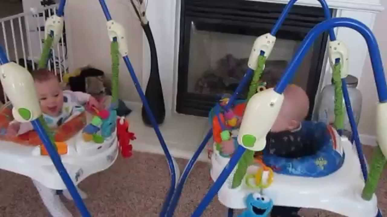 3b819f7fbe55 Twins bouncing in a jumperoo - YouTube