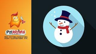 Flat Snowman Icon design in Illustrator