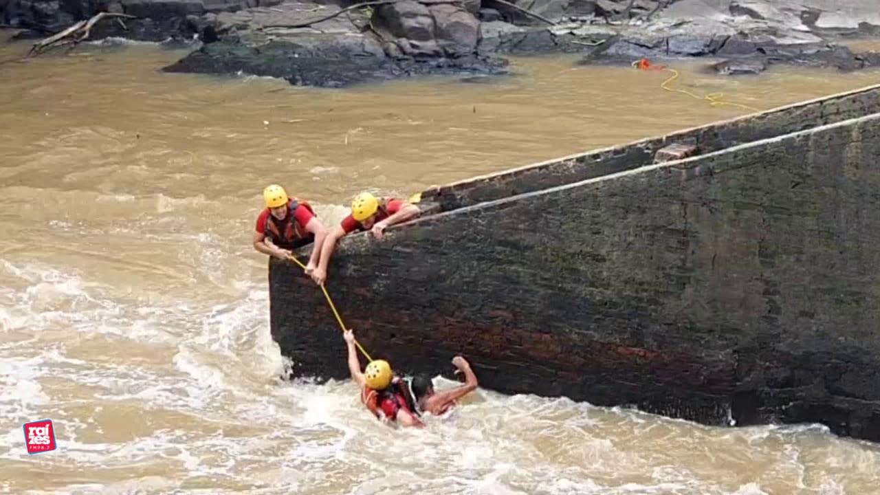Pescador foi resgatado com vida logo após cair no rio.
