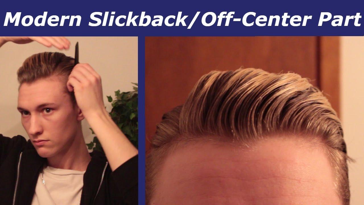 mens' hair tutorial | modern slickback/off-centre part